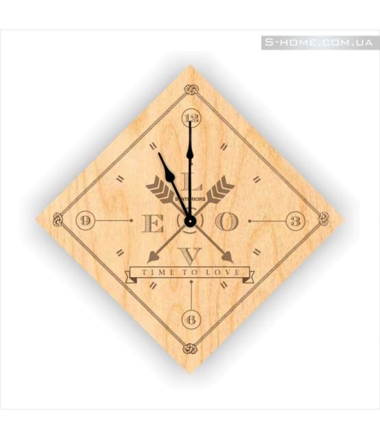Дизайнерские настенные часы с гравировкой лазером S-Interiors Love