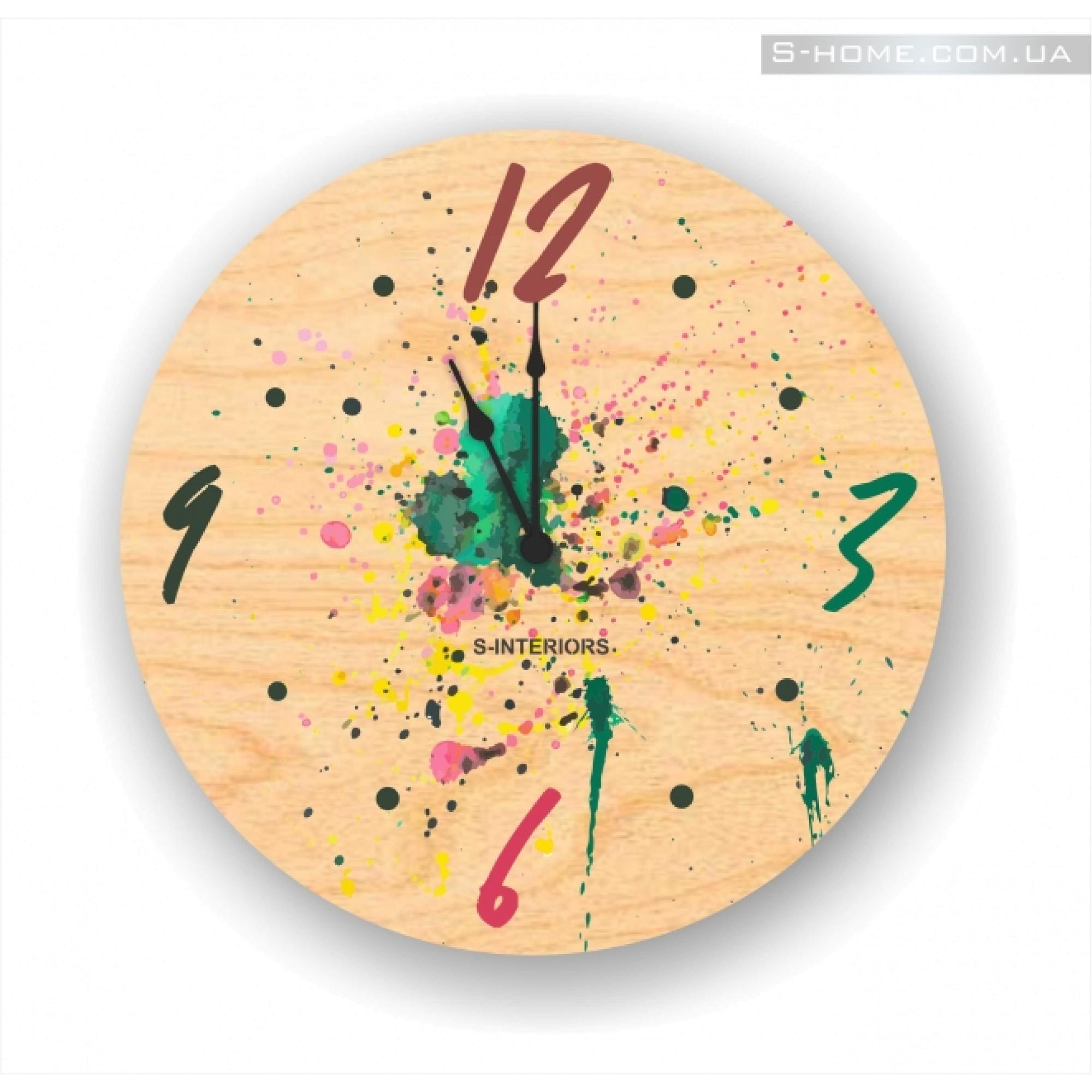 Круглые деревянные настенные часы в детскую S-Interiors Blots
