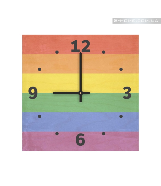 Яркие настенные часы Радужный флаг S-Interiors Rainbow Flag