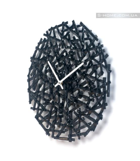 Чорний скляний настінний годинник S-Interiors Nero Linea