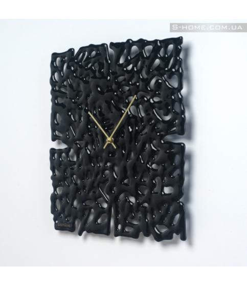 Настінний годинник з плавленого скла S-Interiors Nero Angelo