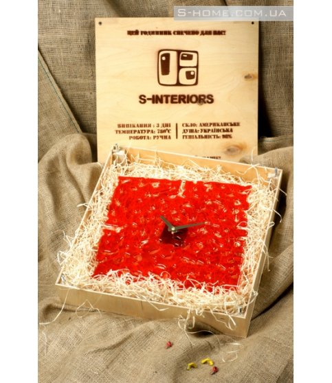 Настінний годинник з муранського скла S-Interiors Rosso Angelo