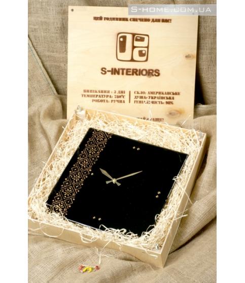 Настінний годинник із золотим українським орнаментом S-Interiors Oro Ukraine