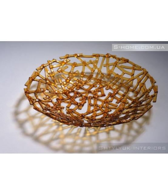 Скляна декоративна тарілка S-Interiors Linea Marrone