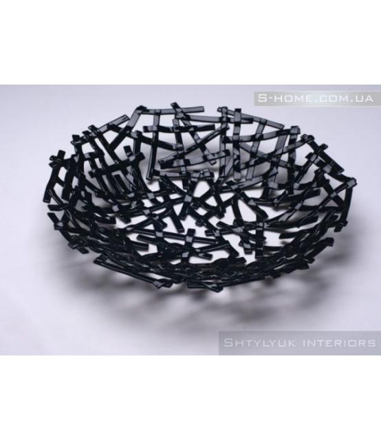 Скляна тарілка-декор S-Interiors Nero Linea