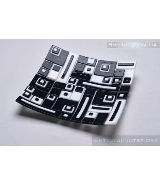 Декоративна тарілка зі скла фьюзинг S-Interiors Domino
